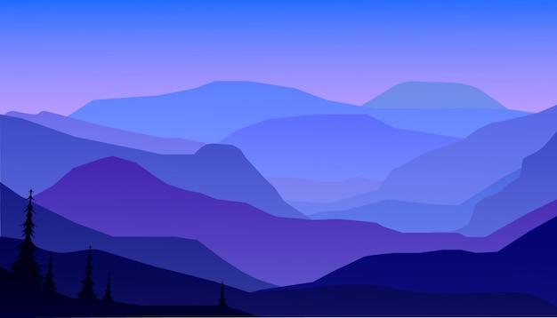 Горы и лесной пейзаж в ночи. Premium векторы