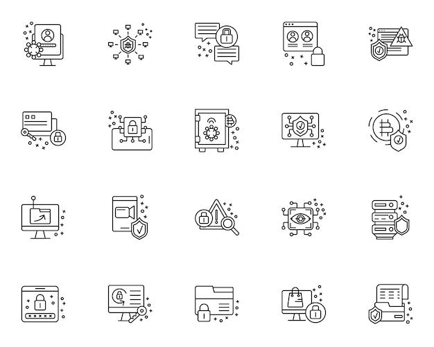 Простой набор иконок, связанных с кибербезопасностью в стиле линии Premium векторы