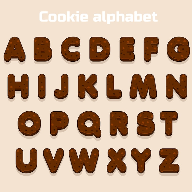Мультфильм шоколадное печенье шрифт, бисквит алфавит, буквы питания Premium векторы
