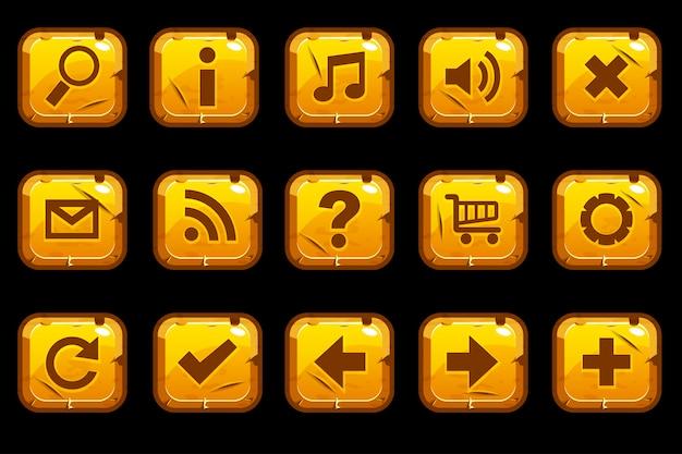 Мультфильм квадратные золотые старые пуговицы Premium векторы