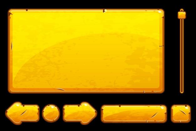 漫画の古い黄金の資産とボタン Premiumベクター