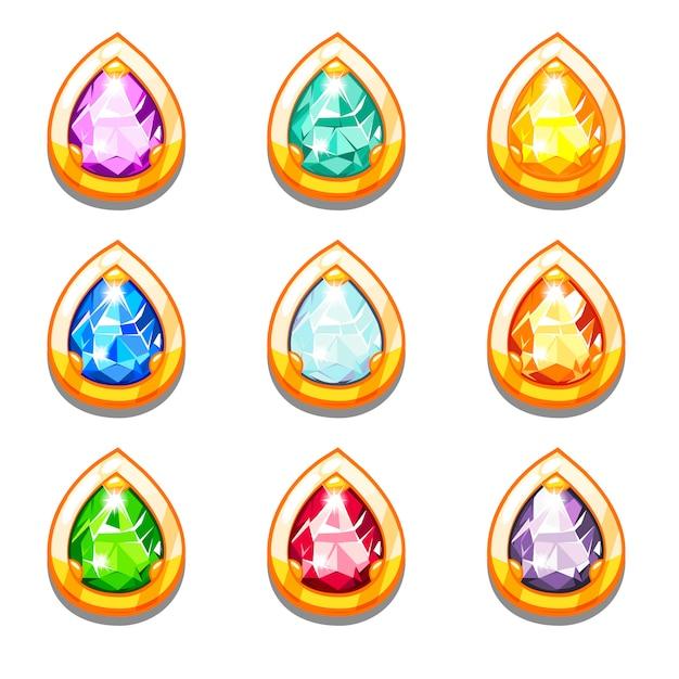 ダイヤモンドとベクトルカラフルな黄金のお守り Premiumベクター