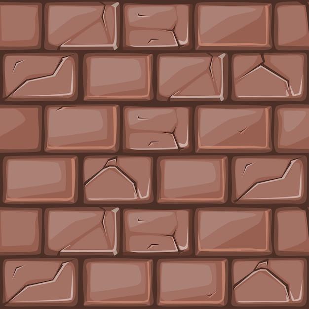 Мультяшный коричневая каменная стена Premium векторы