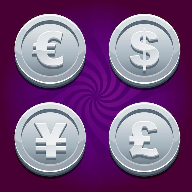 Доллар, евро, фунт и иена, серебряные монеты Premium векторы