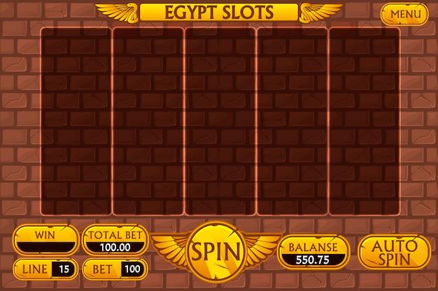 エジプトの背景のメインインターフェイスとカジノのスロットマシンゲームのボタン Premiumベクター