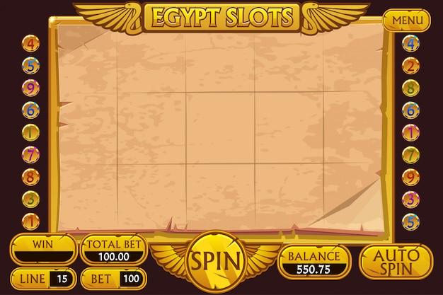 Египет стиль казино игровой автомат. полный интерфейс игрового автомата и кнопки на отдельных слоях. Premium векторы