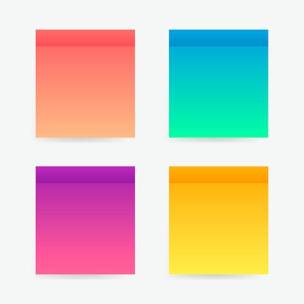 Различные красочные наклейки заметки. липкие ленты с теневым шаблоном. почтовый лист бумаги. поместите любой текст на это Premium векторы