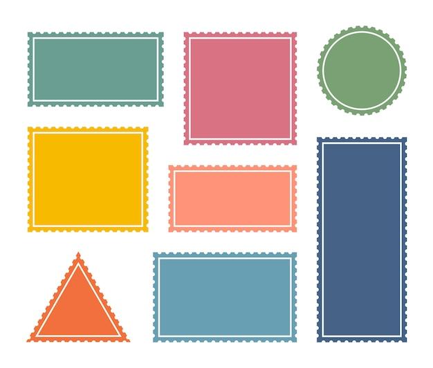 Набор красочных пустых почтовых марок. зубчатые границы почтовой наклейки стикер шаблон. Premium векторы