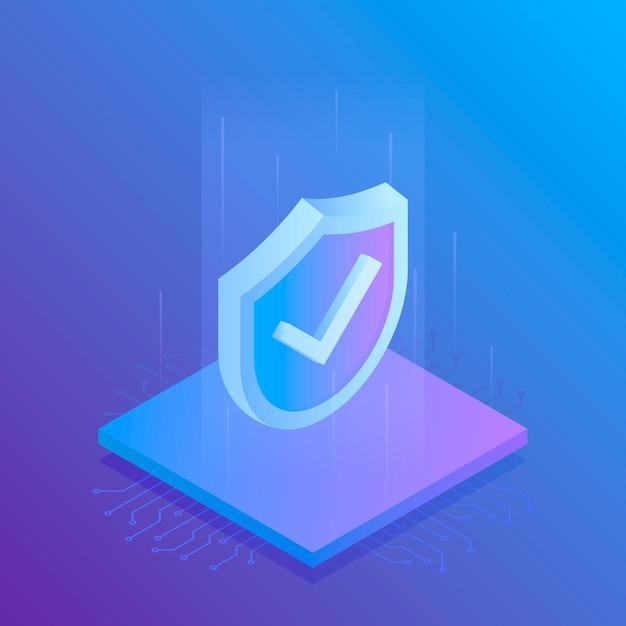 等尺性のインターネットセキュリティシールド、ビジネス。モダンなイラスト Premiumベクター