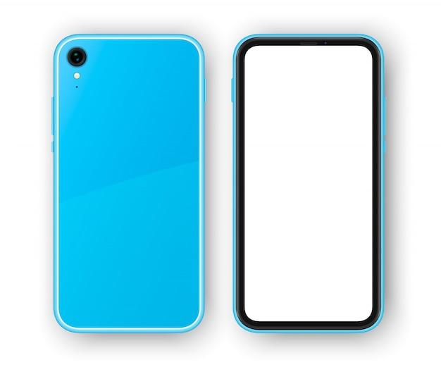 Синий безрамочный смартфон, вид сзади и спереди. высоко детализированный реалистичный телефон Premium векторы