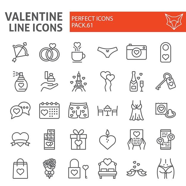 バレンタインの日ラインアイコンセット Premiumベクター