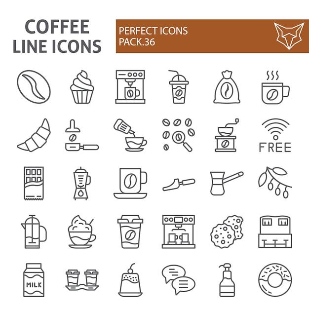 Набор иконок линии кофе, коллекция кафе Premium векторы