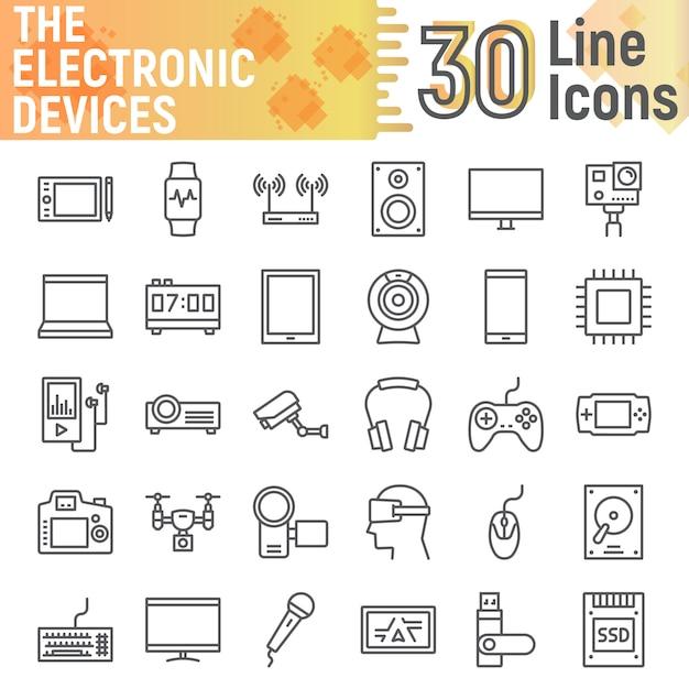 電子デバイスラインアイコンセット、メディアシンボルコレクション Premiumベクター