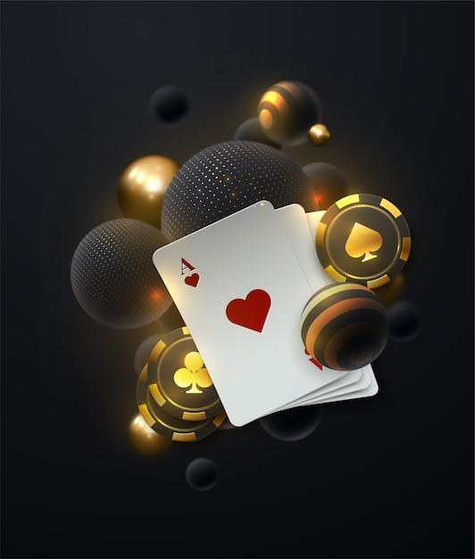 落ちる白と金色の柔らかい球。暗い背景にポーカーシンボルとポーカーカードのカジノテーマのイラスト。 Premiumベクター