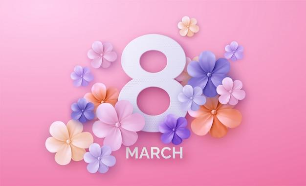 ピンクの背景に国際女性の日のロゴと丸いバナー。 Premiumベクター
