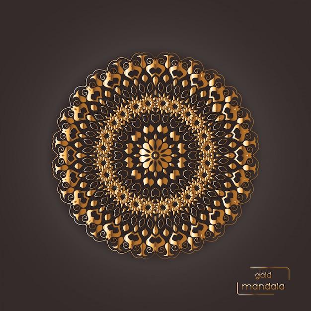 Орнаментальная золотая цветочная восточная мандала на коричневом цветном фоне Premium векторы