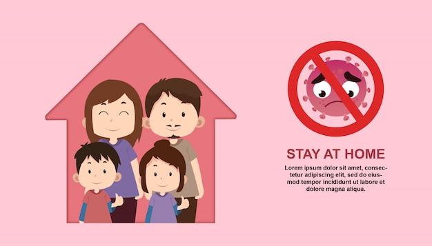 Пребывание дома иллюстрация с семейным характером Premium векторы