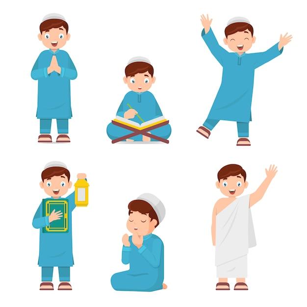 コーラン、キャリングランタン、祈りを読んでイスラム教徒の少年のセット Premiumベクター