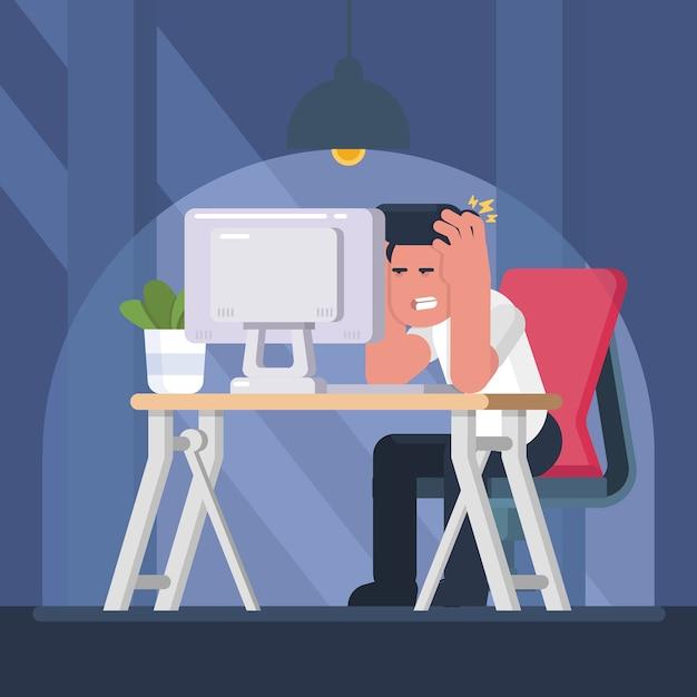 忙しい過労ビジネス男はノートパソコンとテーブルに座っていると強調しました。 Premiumベクター