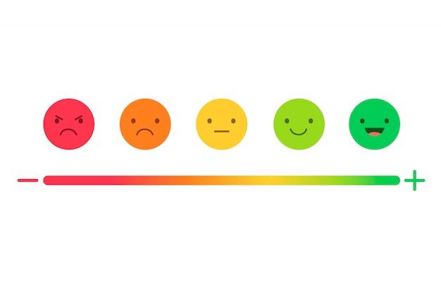 評価の満足度、感情の形でのフィードバック。 Premiumベクター