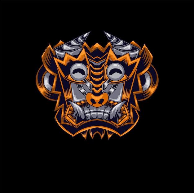 マスコット悪魔猿ゲームロゴ Premiumベクター