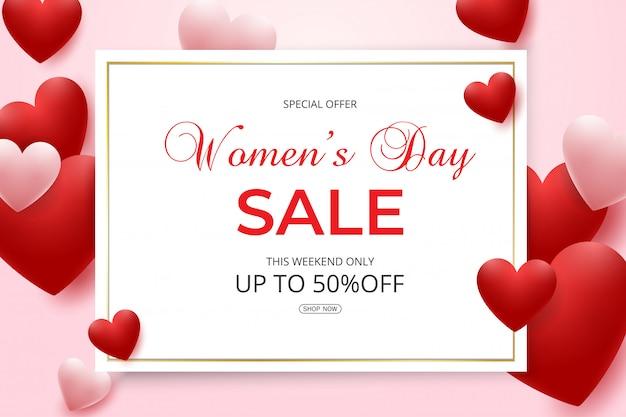 赤とピンクのハートの女性の日セール Premiumベクター