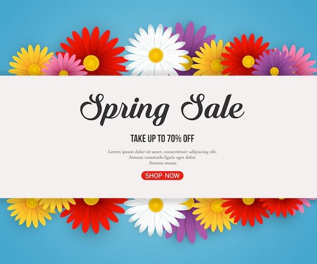 美しい色とりどりの花で春販売バナー Premiumベクター