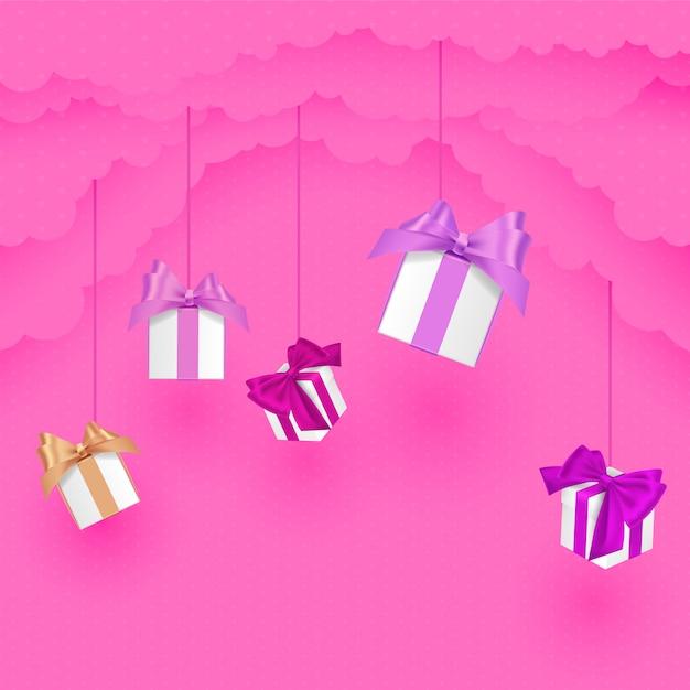 雲のギフトと紙スタイルクラウドのバレンタインの日。紙のカットスタイル。ピンクのイラスト。 Premiumベクター