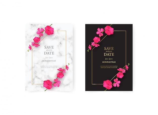 Свадебный шаблон пригласительного билета с реалистичным набором красивый розовый цветок Premium векторы