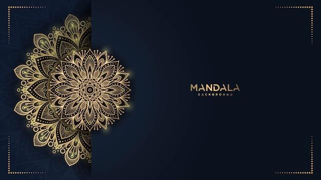 黄金のアラベスクパターンアラビアイスラム東スタイルと豪華なマンダラの背景 Premiumベクター