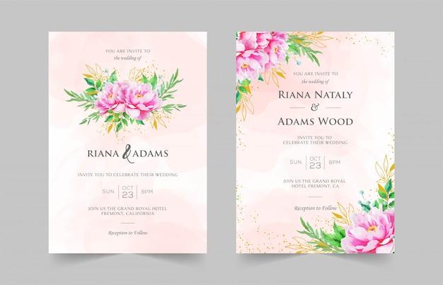 Элегантные свадебные приглашения шаблон с акварелью цветочным декором Premium векторы