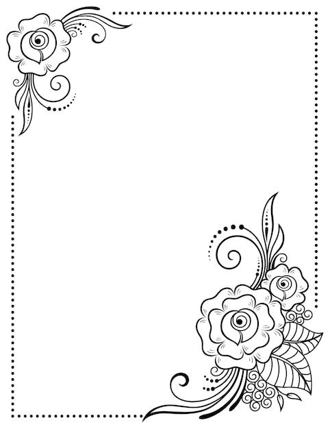 本、ノート、,、雑誌、はがき、フォルダーのカバーを飾るためのヘナの入れ墨の装飾的なパターンで様式化されました。一時的な刺青スタイルのバラの花。東部の伝統のフレーム。 Premiumベクター