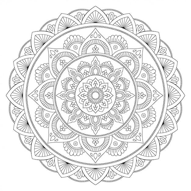 Хна татуировки мандалы. менди стиль. орнамент в восточном стиле. страница книжки-раскраски. Premium векторы