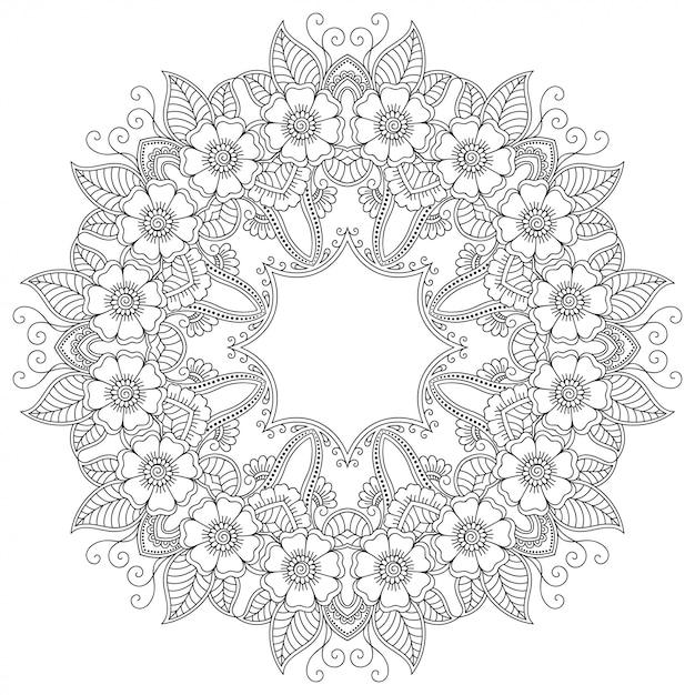 Круглый узор в виде мандалы с цветком для хны, менди, тату, украшения. декоративный орнамент в этническом восточном стиле. наброски каракули рука рисовать иллюстрации. Premium векторы