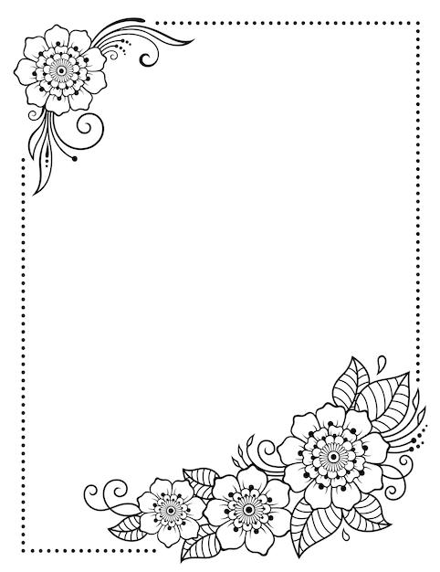 Стилизованный орнамент с татуировками хной для декорирования обложек для книг, тетрадей, шкатулок, журналов, открыток и папок. цветок розы в стиле менди. рамка в восточной традиции. Premium векторы