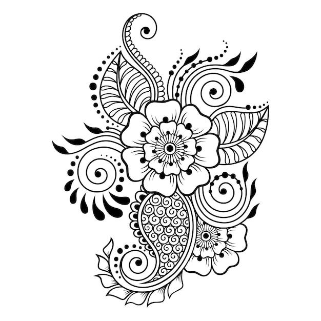 Менди цветочный узор для рисунка хной и татуировки. оформление в этническом восточном, индийском стиле. каракули орнамент. контур Premium векторы