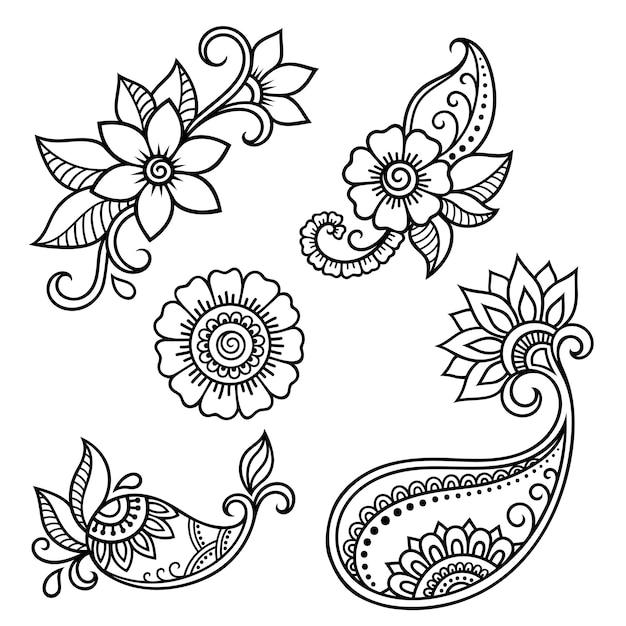 ヘナの描画とタトゥーの一時的な刺青の花のパターンのセット。エスニックオリエンタル、インド風の装飾。飾りを落書き。手描きのベクトル図を概説します。 Premiumベクター