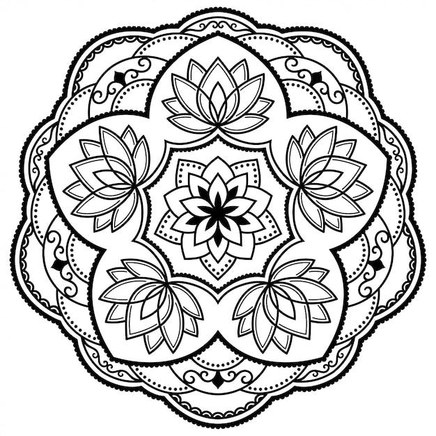 Круглый узор в виде мандалы с цветком лотоса для хны, менди, тату, украшения. декоративный орнамент в этническом восточном стиле. наброски каракули Premium векторы