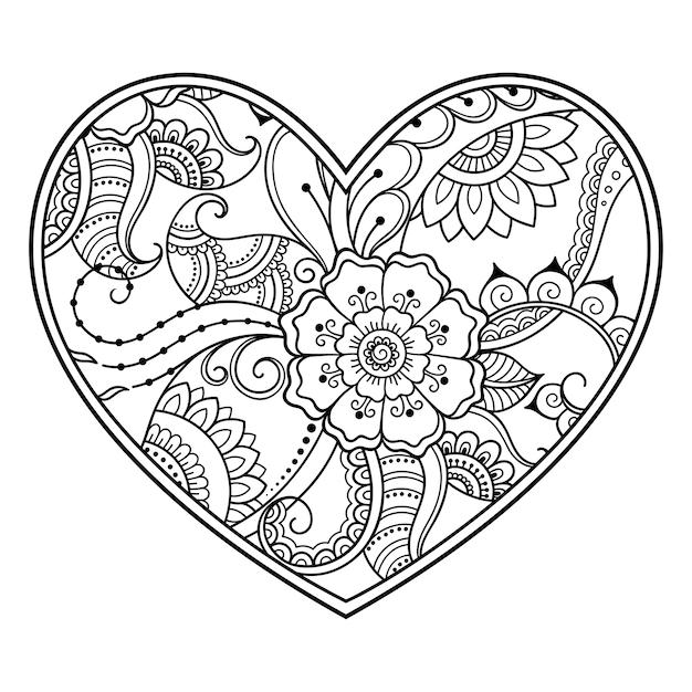 Менди цветочный узор в форме сердца с лотосом для рисунка хной и татуировки. оформление в этническом восточном, индийском стиле. страница книжки-раскраски. Premium векторы