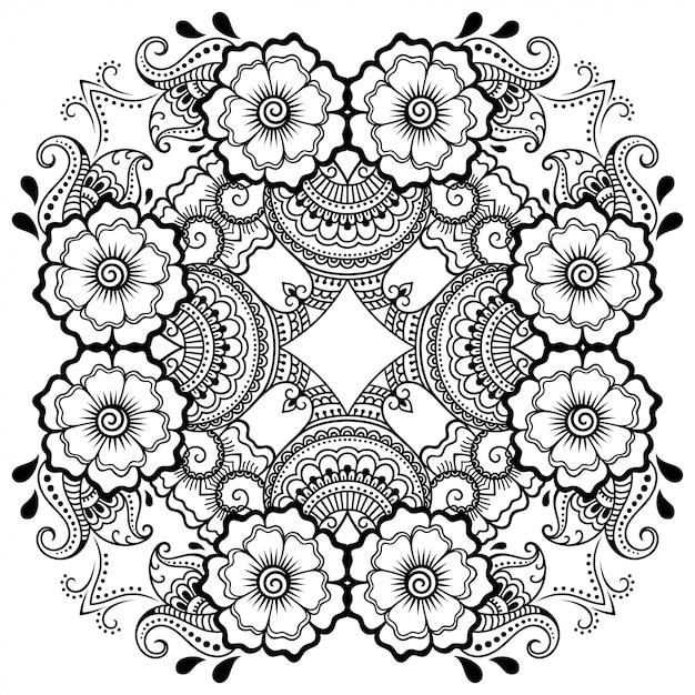 Круглый узор в виде мандалы с цветком для хны, менди, тату, украшения. декоративный орнамент в этническом восточном стиле. наброски каракули рука рисовать векторные иллюстрации. Premium векторы