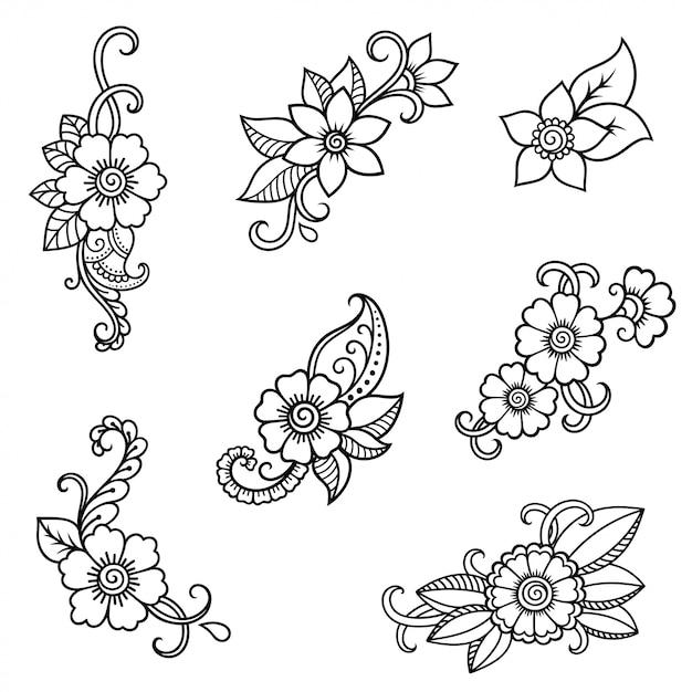 Хна татуировки цветок шаблон. менди стиль. набор орнаментов в восточном стиле. Premium векторы