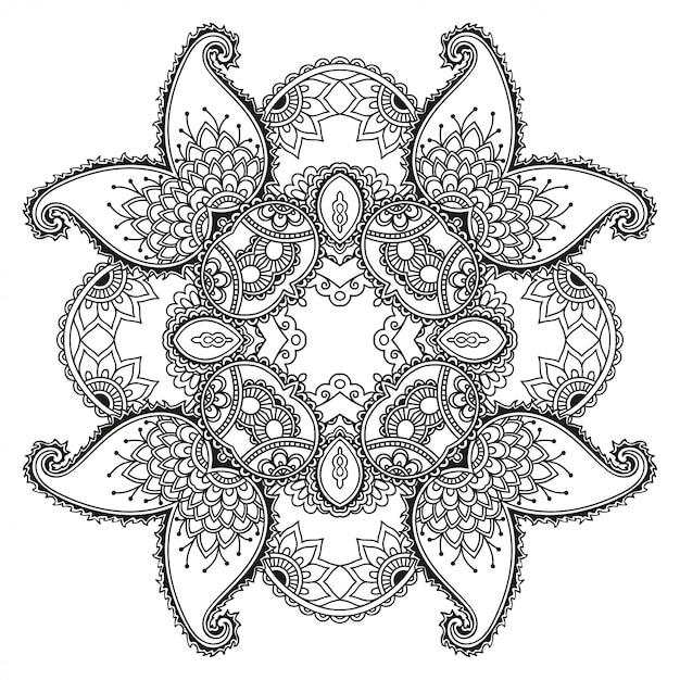 花の装飾とマンダラの形で、エスニックオリエンタルスタイルの円形の装飾飾り。落書き手描きイラストの概要を説明します。 Premiumベクター