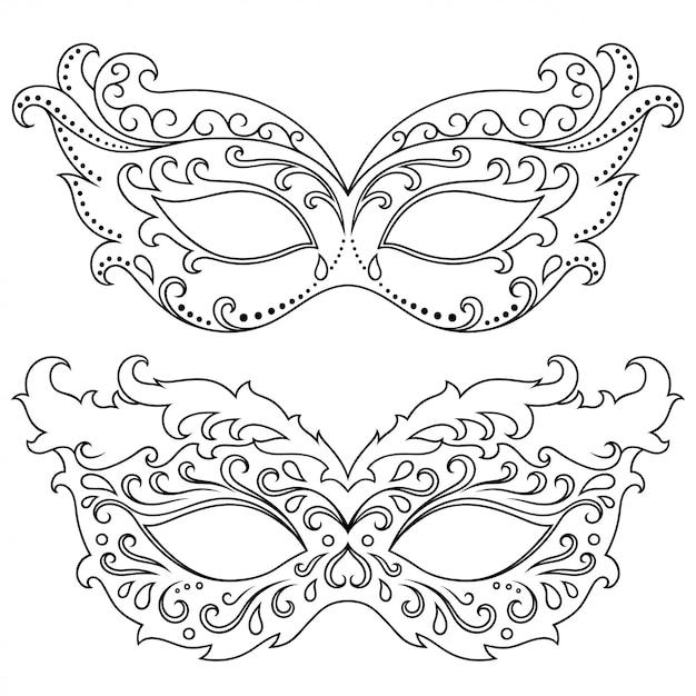 Набор красивых фестивальных масок для празднования хэллоуина, нового года, бразильского или венецианского карнавала, марди гра или вечеринки. элементы женского праздничного костюма. изолированные наброски с цветочным узором. Premium векторы