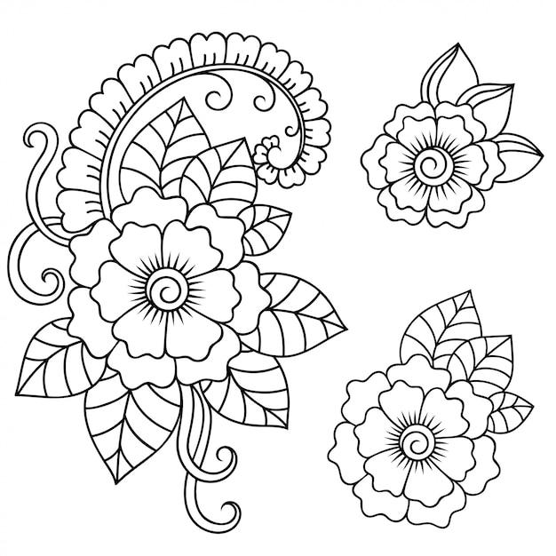 Набор из менди цветочный узор. оформление в этническом восточном, индийском стиле. каракули орнамент. наброски руки нарисовать. Premium векторы