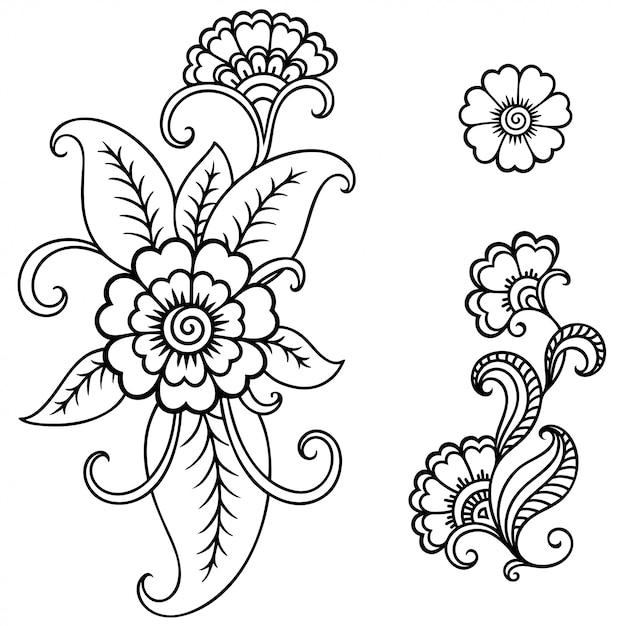 一時的な刺青の花のセット。エスニックオリエンタル、インド風の装飾。飾りを落書き。手描きイラストを概説します。 Premiumベクター