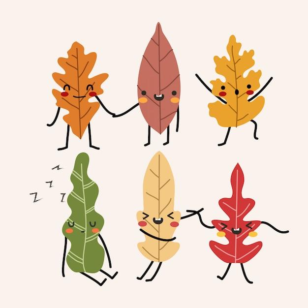 Очаровательные осенние листья на изолированных пастель Premium векторы