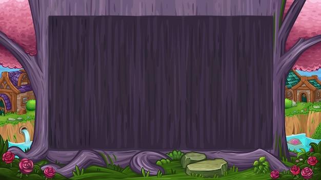 魔法の紫の木と美しい谷 Premiumベクター