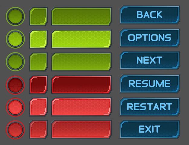 宇宙のゲームやアプリ用に設定されたインターフェイスボタン Premiumベクター
