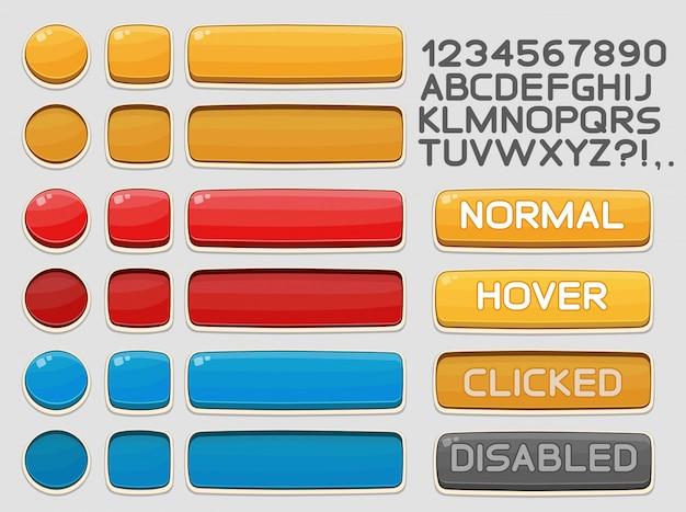 ゲームまたはアプリ用に設定されたインターフェイスボタン Premiumベクター