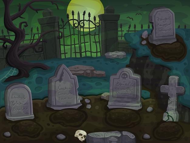 墓地漫画背景 Premiumベクター